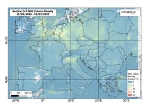 Sentinel-5P: Czystsze powietrze nad Europą i Chinami podczas epidemii <br /> Europa w dniach 15-18 marca 2020 r.