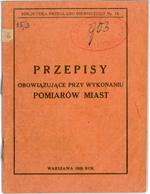 Przepisy obowiązujące przy wykonaniu pomiarów miast (1920-28)