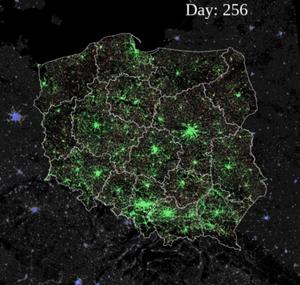 Opublikowano wyniki symulacji modelu rozprzestrzeniania się koronawirusa w Polsce <br /> Symulacja rozprzestrzeniania się COVID-19 w Polsce, dzień 256