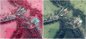 Nowe zdjęcia lotnicze dla granicy polsko-ukraińskiej w zasobie <br /> Zdjęcie tego samego obszaru, z lewej kompozycja CIR, z prawej RGB
