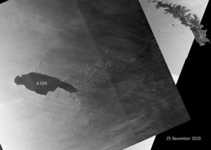 Wielka góra lodowa pod czujnym okiem satelitów <br /> (contains modified Copernicus Sentinel data 2020, processed by ESA)