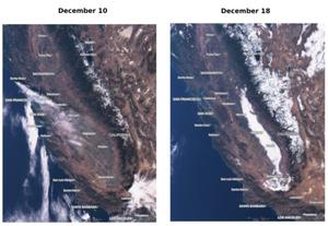 Kalifornijskie mgły na zdjęciach satelitarnych <br /> Sentinel-3 OLCI