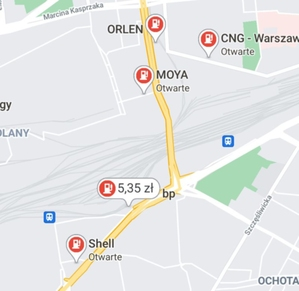 Mapy Google prezentują ceny paliw