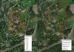 Satelitarne obrazy radarowe wskazują, które tereny na Górnym Śląsku osiadają najszybciej <br /> Deformacje pionowe (po lewej) oraz poziome w kierunku wschód-zachód z obrazów satelitarnych dla terenu miasta Bytom