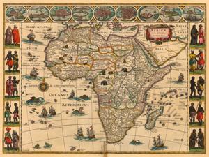 On-line o dawnych mapach Afryki, Ameryki i Azji <br /> Mapa Afryki W. Blaeu, 1644 r.