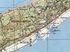 """Zobacz Polskę na radzieckich mapach topograficznych <br /> Fragment arkusza """"Krynica Morska"""""""