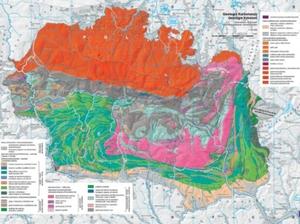 """Śnieżka i towarzysze na mapach, czyli o Atlasie Karkonoszy <br /> Przykład layoutu (makiety) mapy tematycznej ? """"Geologia Karkonoszy"""" ? w skali 1:100 000 z rozbudowaną legendą"""