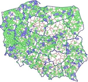 Ważny krok w kierunku cyfryzacji planów zagospodarowania przestrzennego [aktualizacja] <br /> Plany włączone do usługi KI MPZP: wektorowe (niebieski), rastrowe (zielony)