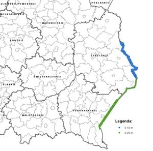 Nowe zdjęcia lotnicze dla granicy polsko-ukraińskiej w zasobie <br /> Obszar, dla którego dostępne są nowe zdjęcia