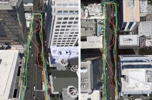 Google poprawi dokładność nawigacji satelitarnej w miastach <br /> Kolor żółty - trasa spaceru, czerwony - ślad GPS bez korekt, niebieski - ślad GPS z korektami