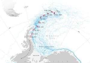 Wielka góra lodowa pod czujnym okiem satelitów <br /> Trasa 3-letniej podróży A-68A na tle innych gór lodowych (fot. Antarctic Iceberg Tracking Database)