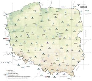 Czterosystemowe korekty ASG-EUPOS również w Małopolsce <br /> Mapa stacji ASG-EUPOS