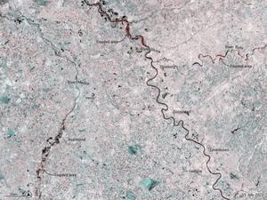 Powódź w Niemczech na zdjęciach satelitarnych <br /> Podtopione obszary oznaczono na czerwono (fot. ESA)