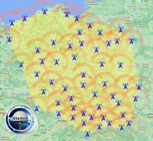 Już ponad 50 stacji RtkNet <br /> Zasięg RtkNet