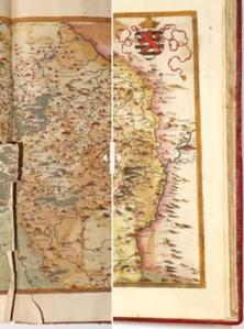 Zwierciadło całego świata - Muzeum Narodowe odnowiło unikatowy atlas <br /> Przykładowa mapa przed (po lewej) i po konserwacji (po prawej)