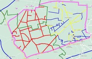 Teren przyszłego CPK skanowany z każdej strony <br /> Tereny objęte skanowaniem posesji (kolor czerwony)